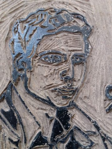 Arthur A. Keller Selbstportrait Ausstellungsplakat 1980 Linolschnitt