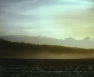 Boostedt, SH, Nebel über dem Feld